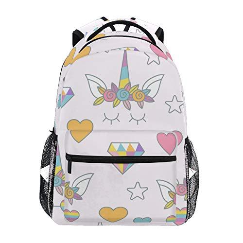 Einhorn mit Herz Sonnenbrille Schulrucksack für Jungen Mädchen Kinder Reisetasche Bookbag