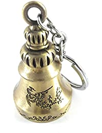 Feng Shui Tibetan Dragon Symbol Pagoda Temple Bell Big Size Keychain Gold