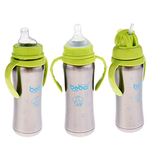 MagiDeal 240ml Isolierte Babyflasche Edelstahl Trinkflasche mit Schnuller - Grün