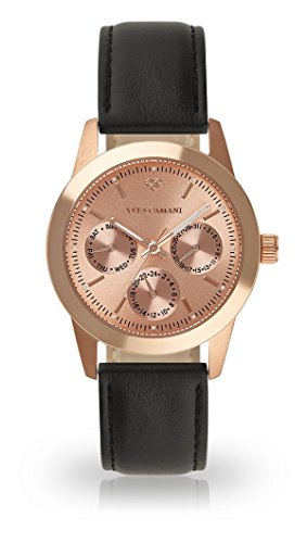 YVES CAMANI MADELAINE Women's Wrist Watch Quartz Analog Rosegold Stainless Steel Case Rosegold Dial (Leather - Black)
