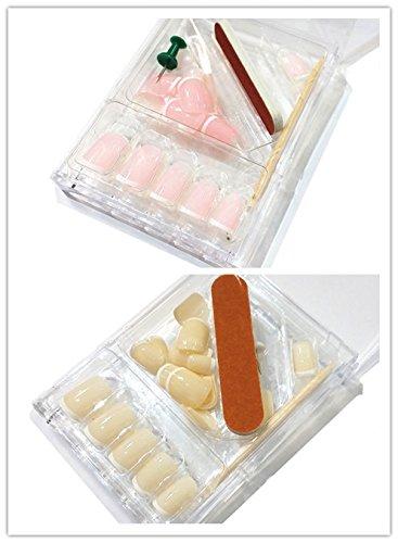 48 French Tips Nails Kunstnägel Inkl. Tippbox Feile Rosenholzstäbchen #KP-3002 (1 Box Beige +1 Box Rosa)