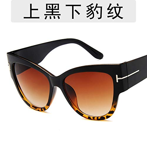 Sonnenbrille Für Männer High-End Fashion T-Förmigen Retro Big Box Sonnenbrille Designer Outdoor Reisen Sport Leichte Und Bequeme Sommer Uv 400 Schwarz Leopard