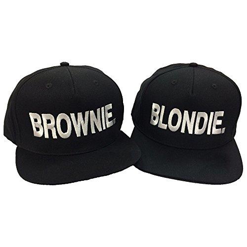 *Blondie Brownie Pair Embroidered Rapper Cap Set Black*