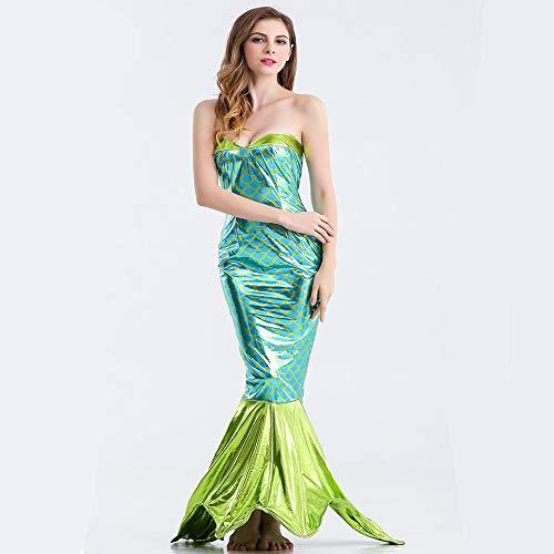 QMKJ Frauen Fancy Kleid Mermaid Schwanz-Rock-Pailletten Fischschwanz-Outfit sexy Meerjungfrau Fisch Skala Hologramm Stretch weiche Glanz Kleid
