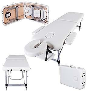 Massage Imperial® Knightsbridge Lettino Professionale Per Massaggio Portatile Alluminio 2 Sezioni Schiuma Ad Alta Densità 5 Centimetri Bianco Avorio