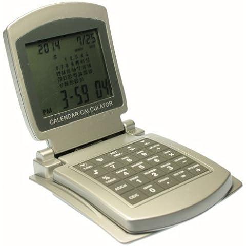 Calculadora de sobremesa plegable con calendario, reloj, alarma y horario mundial - 8 digitos -