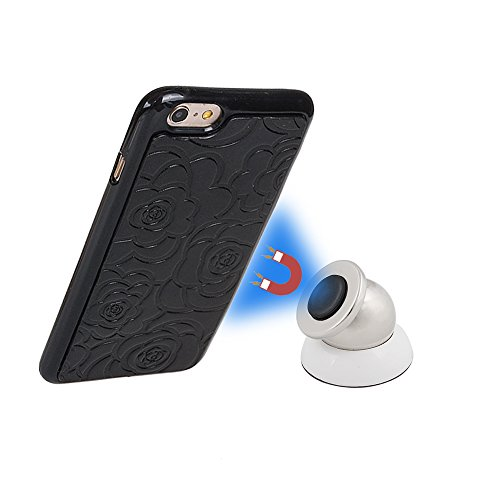 xhorizon TM FM8 [Aktualisiert] 2 in 1 Top Notch Rosa Amboss Magnetisch Car MountPhone Halter Kompatibel Folio Leder Brieftasche Case für Apple iPhone 5 5S / iPhone SE (2016) mit einem 9H Ausgegliche Schwarz mit einem 9H temperiert Glasfilm