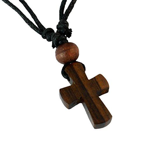 ISLAND PIERCINGS Halskette Anhänger aus Holz Kreuz Handarbeit längenverstellbar N228