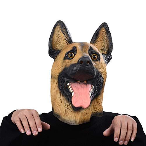 LHJCN Halloween Maske Latex Hund Deutscher Schäferhund Tiermaske Kostüm Cosplay Mask Helmet Props