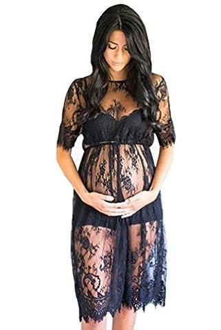 NiSeng Schwangere Frauen Wimpern Spitze kurze Ärmel Kleid Schwangere Frauen Foto-Shooting Kleid Schwarz M