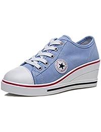 d07fa4cdd561 Femme Baskets Mode en Tennis Chaussures Toile Talon Compensé Chaussures de  Sport Fermeture Lacets Taille 40