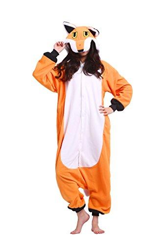 Magicmode Unisex Halloween Cosplay Kostüme Erwachsene Kigurumi Hoodie Strampelanzug Schlafanzug Nachtwäsche Kleid Cartoon Fox M