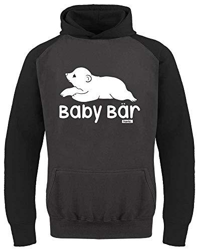 HARIZ Kinder Baseball Hoodie Baby Bär Süß Tiere Dschungel Plus Geschenkkarte Dunkel Grau/Schwarz 128/7-8 Jahre -