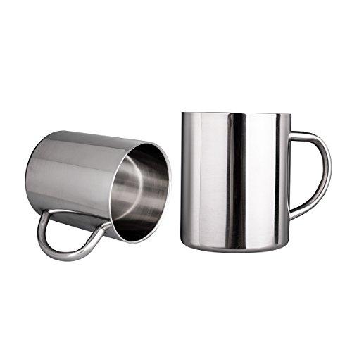 IMEEA 300ml Gebürstete Edelstahl Doppelwand-Becher Tee Cup Trank Cup für Kinder, Set von 2