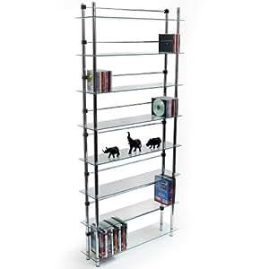 maxwell dvd cd regal 8 etagen glas silber. Black Bedroom Furniture Sets. Home Design Ideas