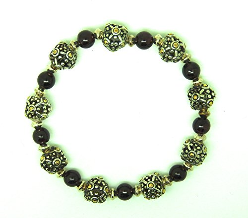 garnet-and-925-decorative-silver-bead-with-gold-highlights-bracelet