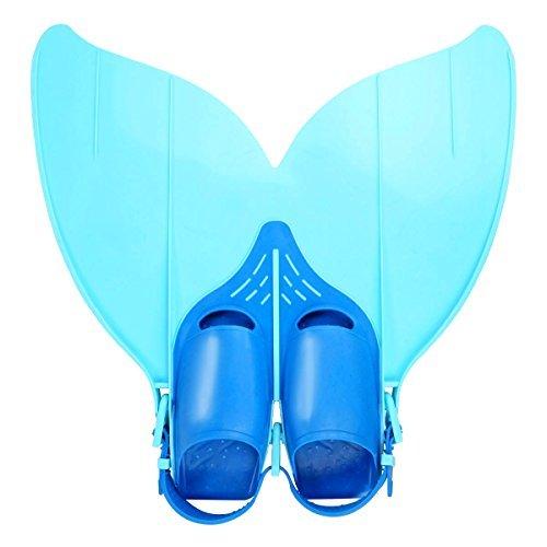BesmallMeerjungfrauSchwimmflossenMonoflossefürJugendliche–TauchflossenSchwanzflosse(Blau,SchuhgrößeVerstellbar29,5-36,5)