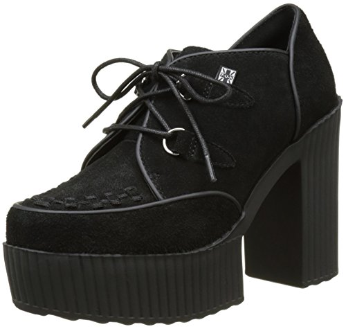 T.U.K. Damen Yuni Creeper Schuhe, Noir (Black Cow Suede), 38 EU (Heel Creeper Schuh Platform)