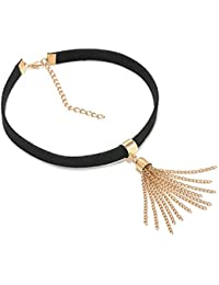 Oomph Black & Gold Tassel Non-Precious Metal Choker Necklace For Women/Girls