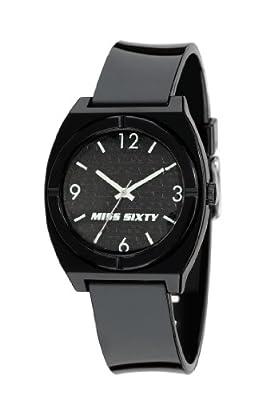 Miss Sixty STU004 - Reloj para niñas de cuarzo, correa de plástico color negro