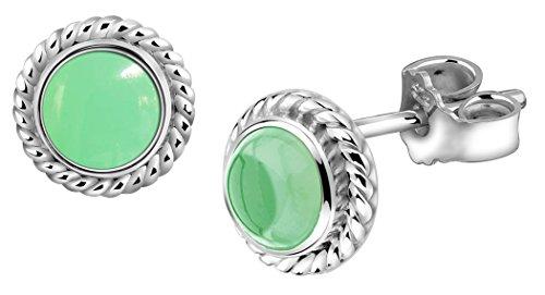 Nena argento fatti a mano set orecchini con pietra preziosa vera agata verde 222999097