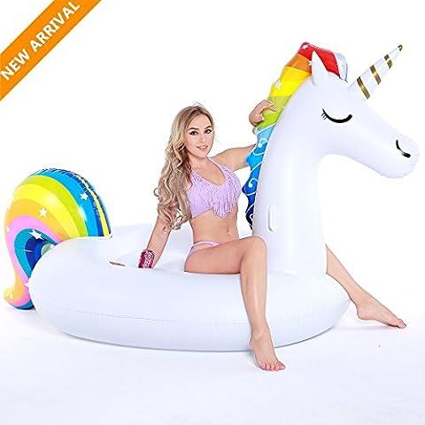 Aufblasbares Einhorn Schwimmen, Tongwing® Riesiges Pool Einhorn Luftmatratze, Party Spiele für Erwachsene Kinder Wasserspielzeug, XXL Pool und Strand Floß für 2-3 Personen,