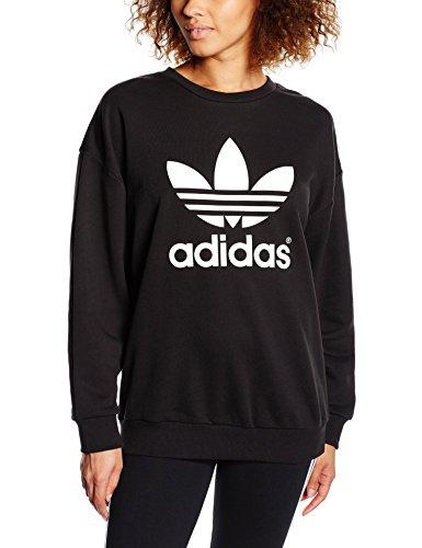 Adidas 3Foil - Felpa da donna, Donna, Sweatshirt Trefoil, nero, 38