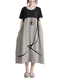 ShallGood Mujer Vestido De Lino Cuello Redondo Retro Rayas Casual Suelto Boho Verano Dress