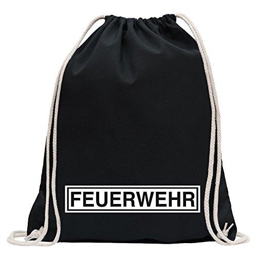 KIWISTAR - Feuerwehr Turnbeutel Fun Rucksack Sport Beutel Gymsack Baumwolle mit Ziehgurt Schwarz