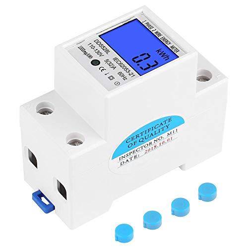 LCD-Energiemessgerät, Keenso 5-32A 110-130 V 60 Hz Digital-Hintergrundbeleuchtung Wattmeter Einphasen-DIN-Schienenmontage KWh-Messgerät DDS528L