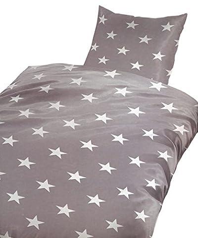 Leonado Vicenti 2 teilig Bettwäsche Microfaser 155x220 cm Sterne anthrazit weiß Set mit