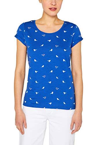 edc by ESPRIT Damen 049CC1K033 T-Shirt, Blau (Bright Blue 410), Medium (Herstellergröße: M) -