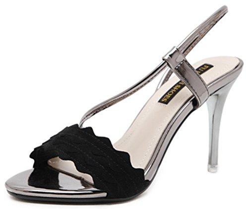 Aisun Damen Fashion Metallic Riemen Nubuk Peep Toe Offen Stilettos Sandalen Schwarz