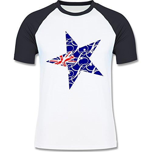 Länder - Australien Stern - zweifarbiges Baseballshirt für Männer Weiß/Navy Blau