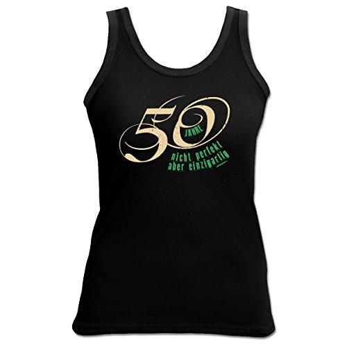 TankTop T-Shirt ::: 50 Jahre nicht perfekt ... ::: zum Geburtstag Schwarz