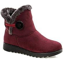 2018 Zapatos Invierno Mujer Botas de Nieve Casual Calzado Piel Forradas Calientes Planas Outdoor Boots Antideslizante