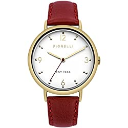Fiorelli Women's Quartz Watch with White Dial Analogue Display and Red Leather Strap FO024R