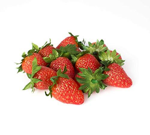 artplants.de Künstliche Erdbeeren, 12er Set, 2,5x4cm - Künstliche Früchte - Künstliches Obst