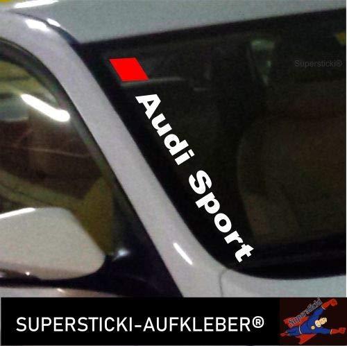 SUPERSTICKI®Winschutzscheibe Aufkleber ca.55cm Audi Sport farbig Autoaufkleber Tuning Decal A616 aus Hochleistungsfolie Aufkleber Autoaufkleber Tuningaufkleber Hochleistungsfolie f