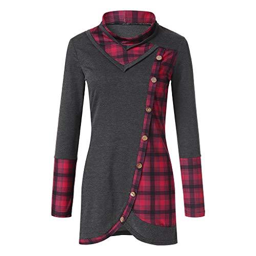 TEBAISE Bluse Damen Langarm Shirt Herbst Pullover Lose Oversize Rundhals Langshirt Hemd Oberteil Tops Pullover Damen Pulli Langarmshirt