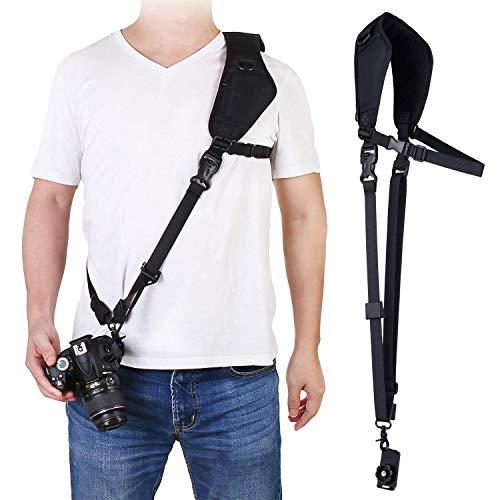 waka Kameragurt schnellverschluß Neopren Schwarz Kamera Tragegurt Verstellbarer Schultergurt Gurt mit Unterarm-Gurt Camera Strap für Canon Nikon Sony Fujifilm Olympus DSLR SLR - Sony Kamera Strap Neck