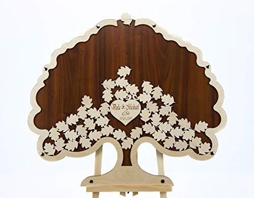 Laserano Edles Hochzeitsgästebuch, Nussbaum, Personalisierbar mit Wunschgravur, Baumform, 100 Holz Blätter, 60x50cm