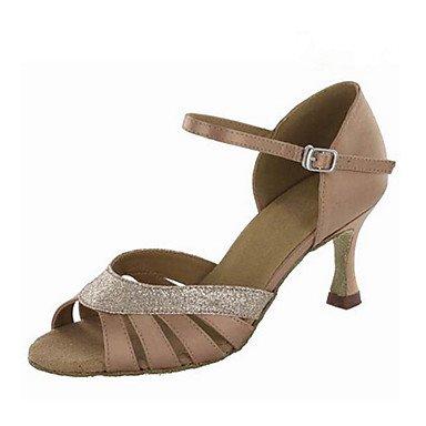 XIAMUO Anpassbare Damen Tanz Schuhe Satin Paillette Latin Ballroom Jazz Swing Salsa Schuhe Sandalen angepasste Heels Praxis Gold