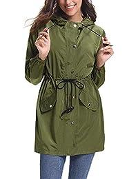 e5c0e9cbfdb41 Manteau Imperméable Veste de Pluie Femme Poncho Pluie à Capuche Zippé Cape  de Pluie Manches Longues