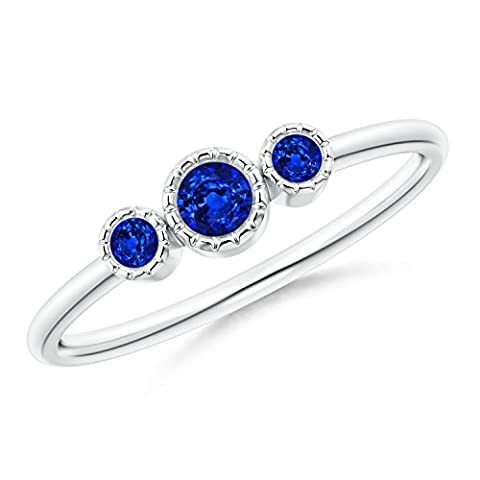 Bezel Set Round Sapphire Three Stone Ring in Silver (3mm Blue Sapphire)