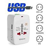 TENACHI Universal Adapter 1USB 1A Travel Adapter Reiseadapter Universalnetzstecker Ladegerät Stecker AU UK EU US