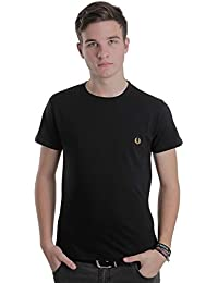 Fred Perry Crew Neck T-Shirt Black/Yellow - Small