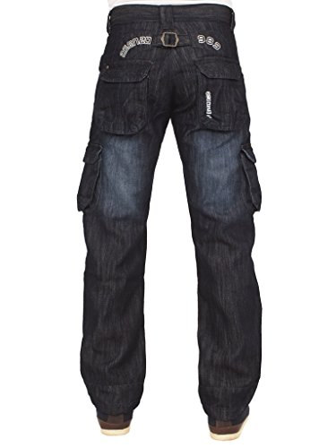 Ze ENZO New Enzo Mens Designer Cargo Combat Blue Coated Denim Jeans Pants All Waist Size