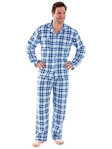 Harvey James Herren Quilt lange Ärmel Schlafanzug Nachthemd blauen und grauen Check Blau / Grau Pyjamas