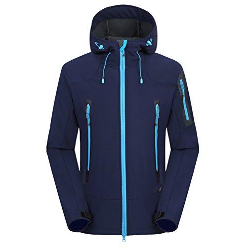 Zhhlaixing Men Outdoor Mountaineering Soft-Shell Wool Jacket Loisir TourismWaterproof Coat Navy blue